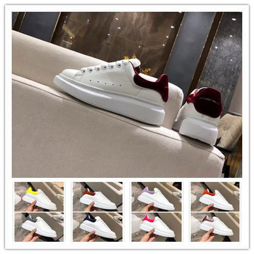 [Con la caja] 2019 Designer Brand White Black Leather Casual Shoes Womens Mens Pink Zapatillas planas cómodas