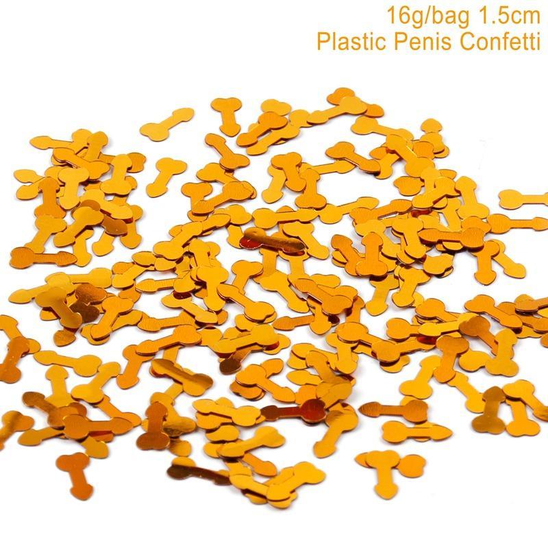 FENGRISE 50 unids Willy Penis Gold Confetti Table Scatters Despedida de Soltera Decoración de Plata Glitter Hen Party Bling Confettis