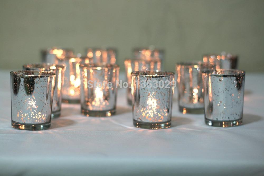 Gorgeous Glittery Gold Mercury Glass Candle Holders Gold Silver