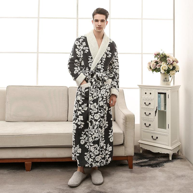 Thick Cation Flannel Mens Robes Long 2018 Winter Bathrobes For Men ... f7d9d7d38