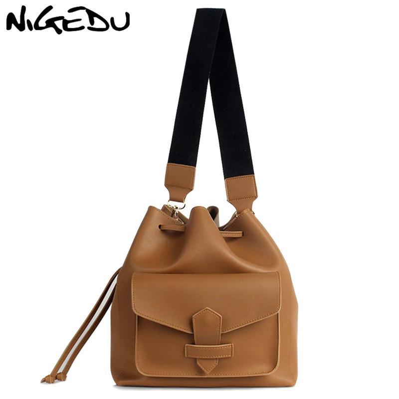 0da7539d260f Wide Strap Shoulder bag women Vintage Drawstring Bucket Bag PU Leather  Designer messenger bags female Handbags big Totes Brown