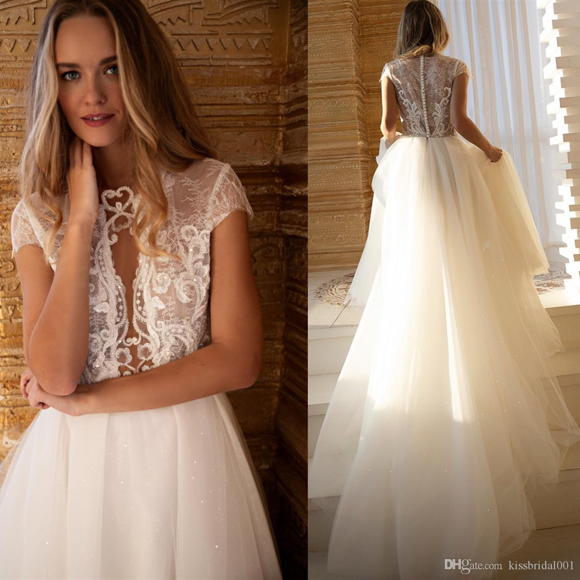 f252bd334803 Discount Boho Wedding Dresses 2019 A Line Short Sleeve Lace Tulle Wedding  Dress Bridal Gowns Sheer Bead Sequin Appliques Bride Beach Wedding Gown  Formal ...