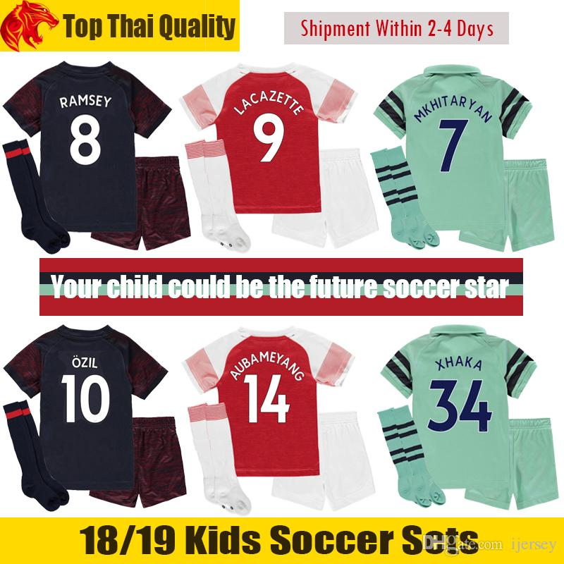 56fdfa96b05 2019 18 19 AUBAMEYANG Kids Kit 2018 2019 OZIL Kids Soccer Sets MKHITARYAN  LACAZETTE Children Football Uniforms XHAKA RAMSEY Youth From Ijersey