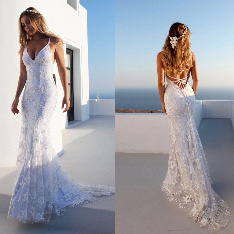 e0fc7157b4 2019 Elegant Open Back V Neck Party Dress Summer Sexy Women Vestido White  Beautiful Lace Embroidery Maxi Dress Beach Floor Length Long Dress From ...