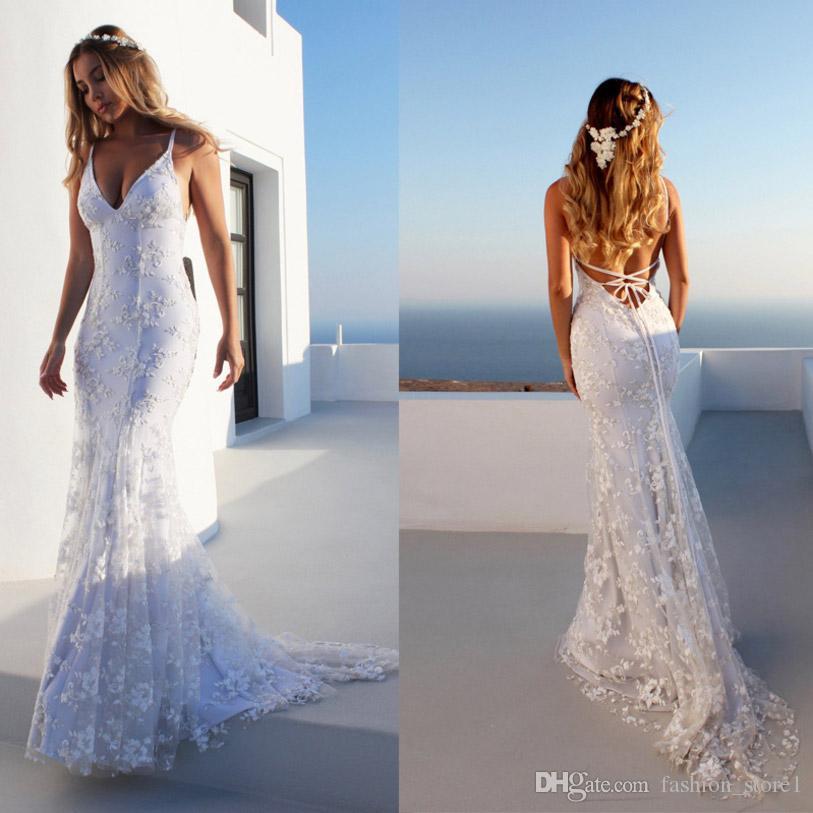 5ae19416e Elegante espalda abierta con cuello en V vestido de fiesta de verano  mujeres sexy vestido blanco hermoso bordado de encaje vestido maxi largo de  playa ...