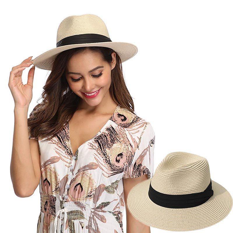 634a87f34fc5 Women Ribbon Wide Brim Panama Straw Hat Fedora Beach Sun Hat UPF50 Sun  Floppy Summer Boater Lady Vocation Hat Store Fedora Hats For Men From  Splendone, ...