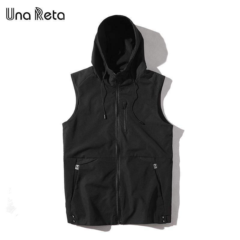 Una Reta Vest Men 2018 New Autumn Casual Sleeveless Jacket With Hooded Outwear Fashion Solid Color Coat Vests For Men