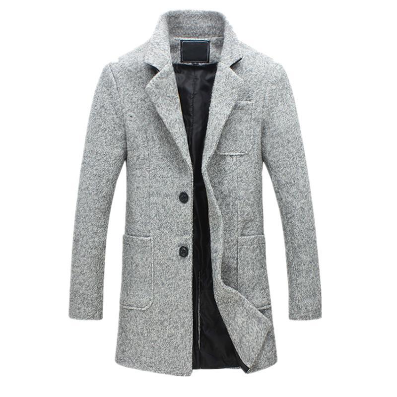 66190a819f69b4 2019 Nouveau Mode Long Tranchée Manteau Hommes 40% Laine Épaisse Hiver  Hommes Manteau Pois Tranchée Manteau Mâle Veste