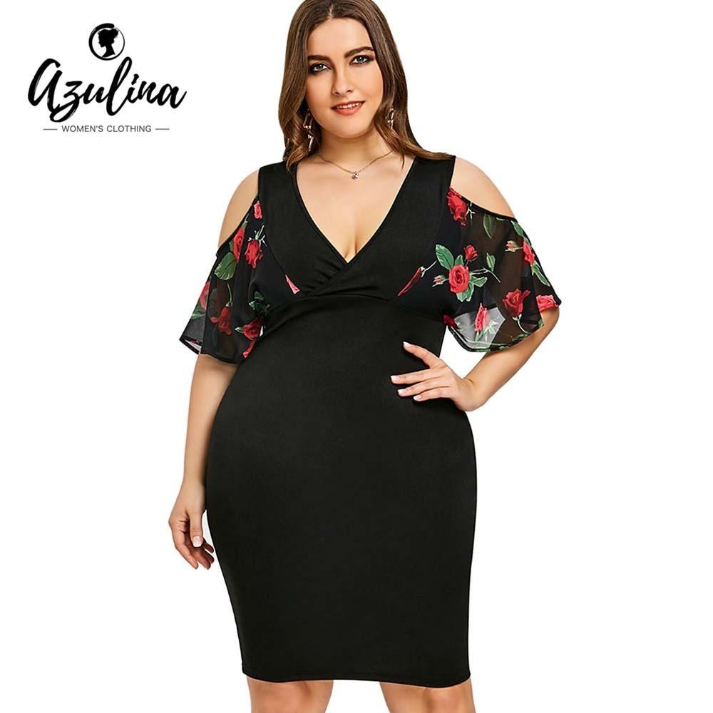03425f5d190 2019 AZULINA Plus Size Rose Print Cold Shoulder Dress Women Clothing Summer  V Neck Half Sleeves Bodycon Dresses Party Dress Vestidos Y190117 From  Jinmei01