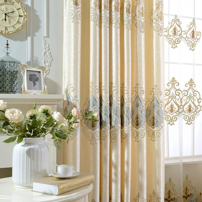 European High-end Shading Beige Embroidery Curtains for Living Dining Room Bedroom