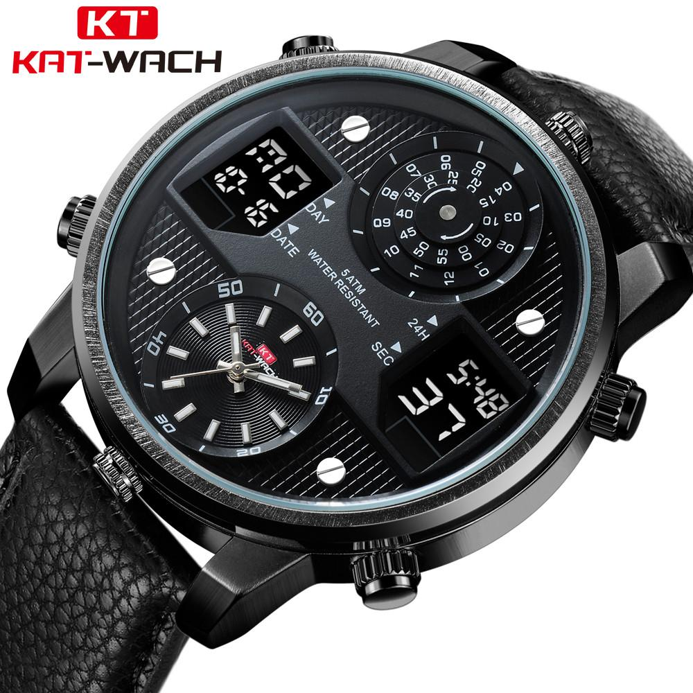 1ee7e7c615 Large Dial Cool Three display time Watch Men Business Waterproof Digital  Clock Mens Watches Casual Sport Quartz Wristwatch