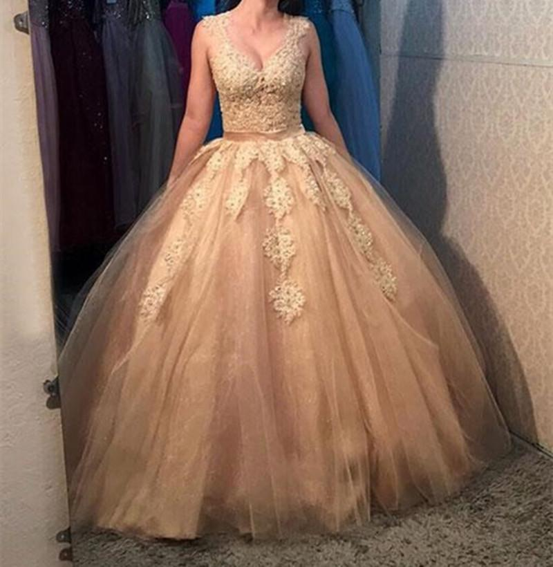 0b91eff3747d Gold Lace Tulle Long Prom Party Dress Lace Formal Evening Dress Sexy Cheap  Dresses Affordable Evening Dresses From Feliru, $136.69  DHgate.Com