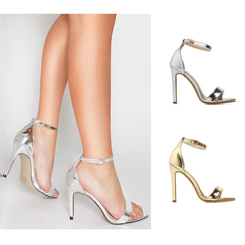 b9af4a3f244 Sexy Gold Silver Women Summer Banquet Sandals Leather Open Toe Ankle Buckle  Lady Prom Dress Shoes High Heels Large Size 35 43 Jelly Sandals Platform  Sandals ...