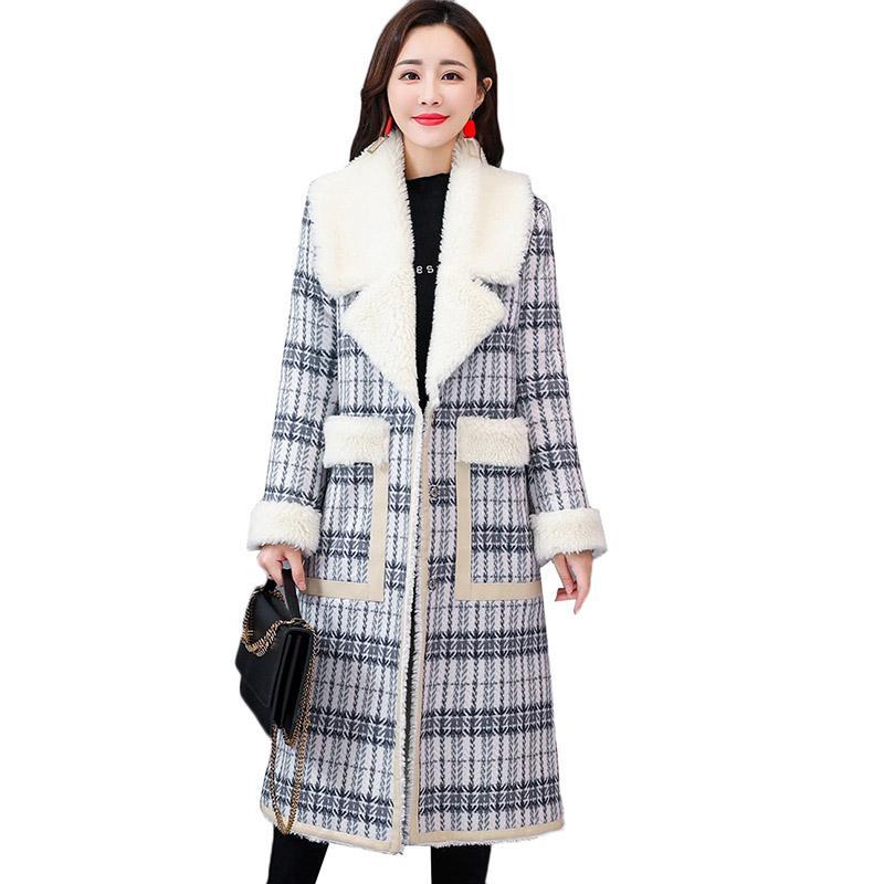 7b84cbc883 2019 Winter Jacket Women Lamb Fur Long Coat Large Size Houndstooth Plus  Velvet Women Jacket Thick Warm Female Lapel Cotton Overcoat From Workwell