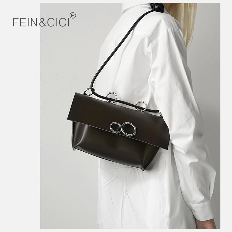 1a86bad27763 Black shoulder bag women ins fashion big ring crossbody bags lady girls  2019 spring summer new leather messenger envelope bag