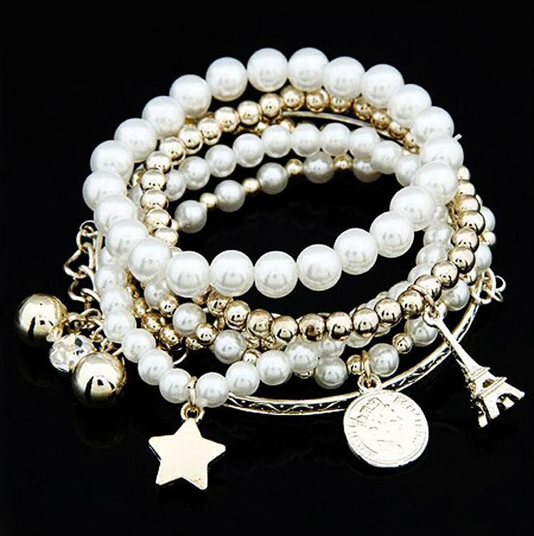 European and American fashion multi-element Eiffel Tower pearl vintage bracelet Coin six-piece jewelry multi-layer elastic bracelet