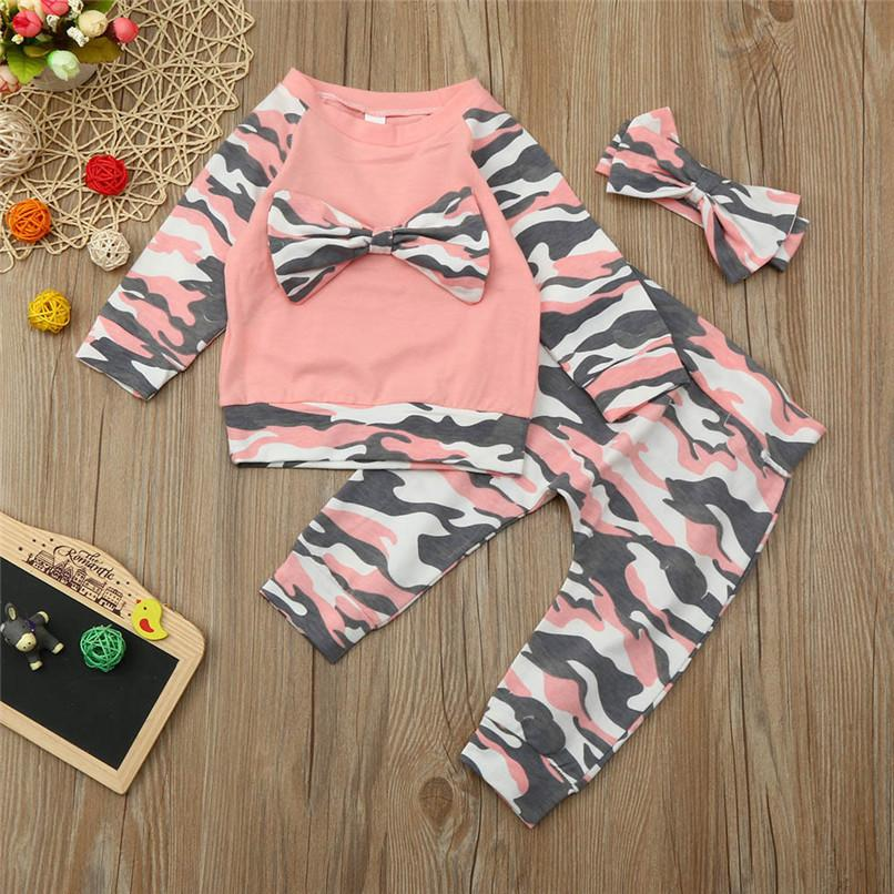 50bdb3287fb5 2019 Baby Clothes Baby Girls Sets Infant Toddler Baby Girls Camouflage Long  Sleeve Bowknot Tops+Pants+Headband Set Clothes JY27 From Zerocold01, ...