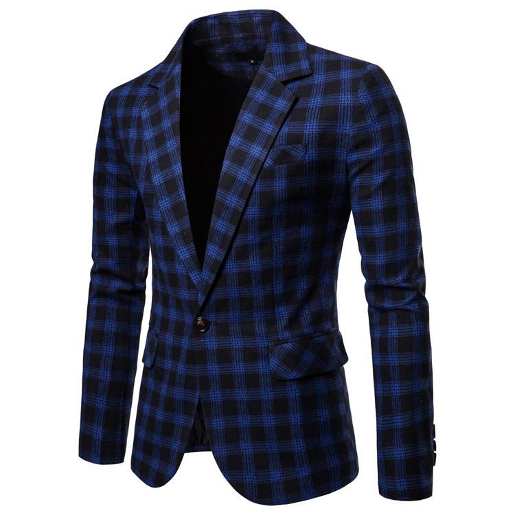 Nueva Marca casual caballero a cuadros Trajes tendencia coreano Trajes novio masculino slim fit Trajes para hombres 3 unidades (chaqueta + Pantalones