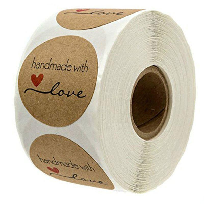 / Roll Rodada Natural Kraft Handmade com Amor Adesivos para Decoração de Casamento Decoração Do Partido Adesivos Novo 2019