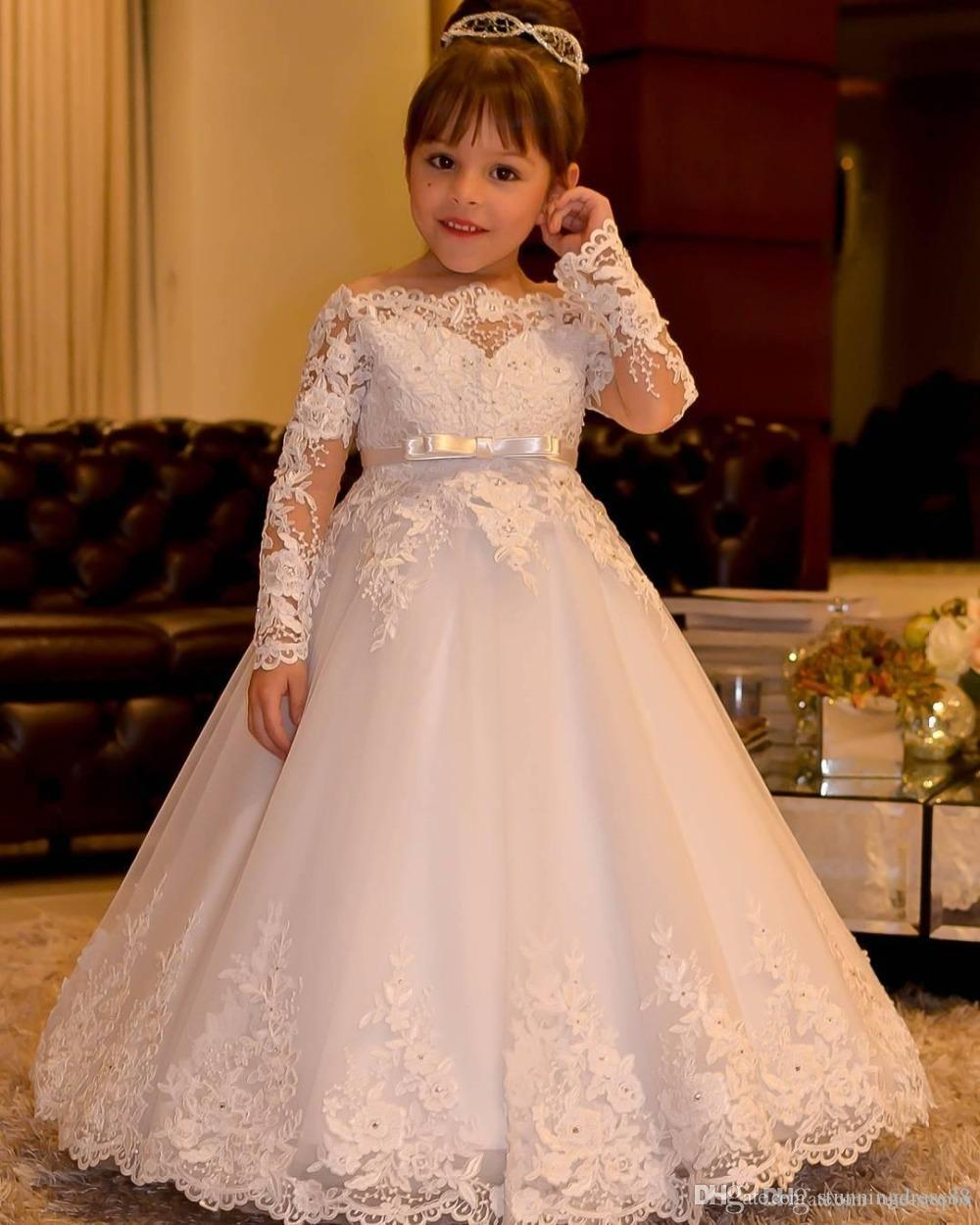Elegant Off shoulders 2019 Flower Girls Dresses For Wedding Party With Long  Sleeves Princess Lace Applique Designer First Communion Dress