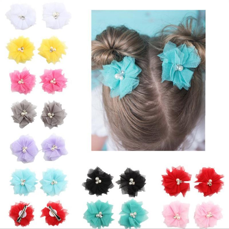 10 Colors Lovely Girls Mini Chiffon Flowers with Pearl Rhinestone Center Hair Clips Lace Flower for Hair Accessories