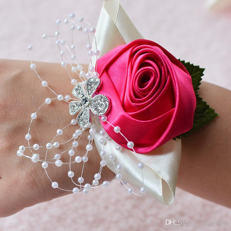 Hot Sale Wedding Bridal Wrist Flower Stain Flower And Pearl Bridesmaid Hand Flowers Summer Beach Wedding Bridal Supplies