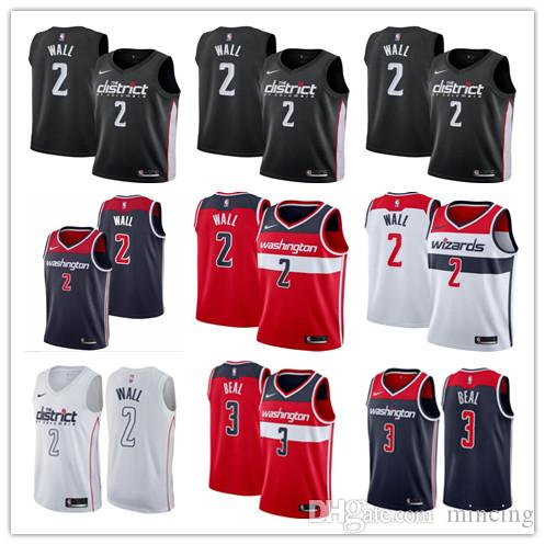 various colors d2851 0ecd4 2019 Men's New Cityedition WashingtonWizards Black Basketball Jersey 2  JohnWall 3 BradleyBeal Jerseys White Red Blue Basketball Shirts sale