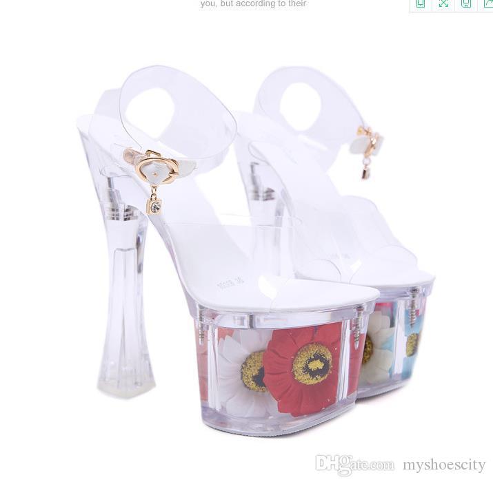 Más el tamaño 34 41 42 43 Para las señoras atractivas del alto Plataforma claro de la flor de jalea sin respaldo Ultra High Heels vienen con la caja
