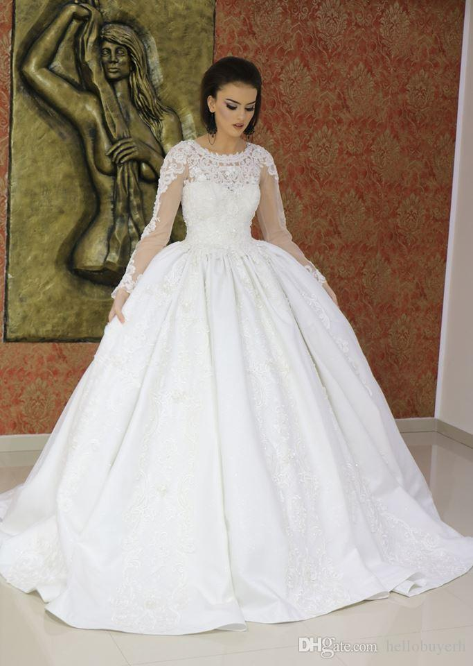 00f17f2d8cc White Lace Applique Long Sleeve Ball Gown Satin Princess Wedding Dresses  Bridal Gowns Plus Size Nigeria 2019 New Arrival Wedding Gowns Dubai Gown  Gowns From ...