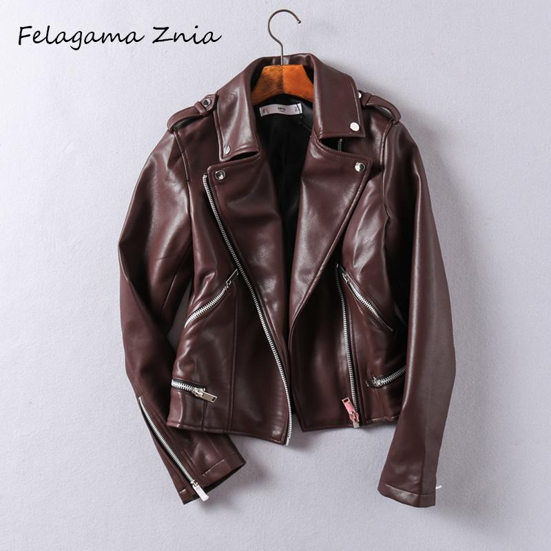 Felagama Znia 2018 New Design Spring Autumn Faux Leather Jackets Women Long  Sleeve Zipper Motorcycle Slim Punk Coat Female
