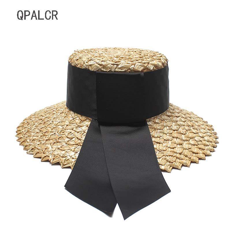 917ac434eca QPALCR Summer Sun Hats For Women Black Ribbon Flat Top Wide Brim ...