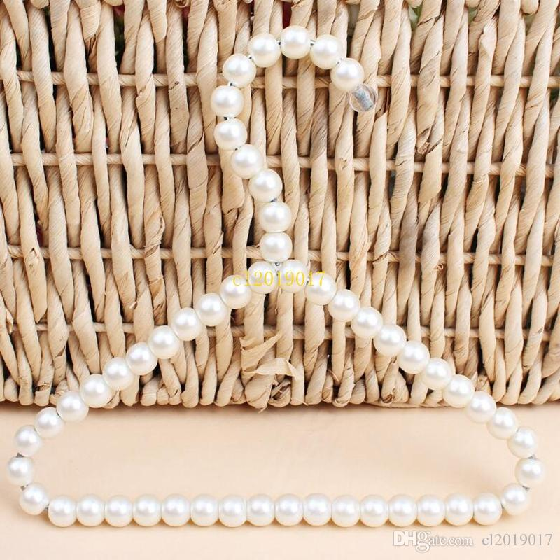 100pcs 20cm Plastic Pearl Beaded Clothes Dress Coat Hangers Wedding For Pet Kid Children Save-Space Storage Organizer