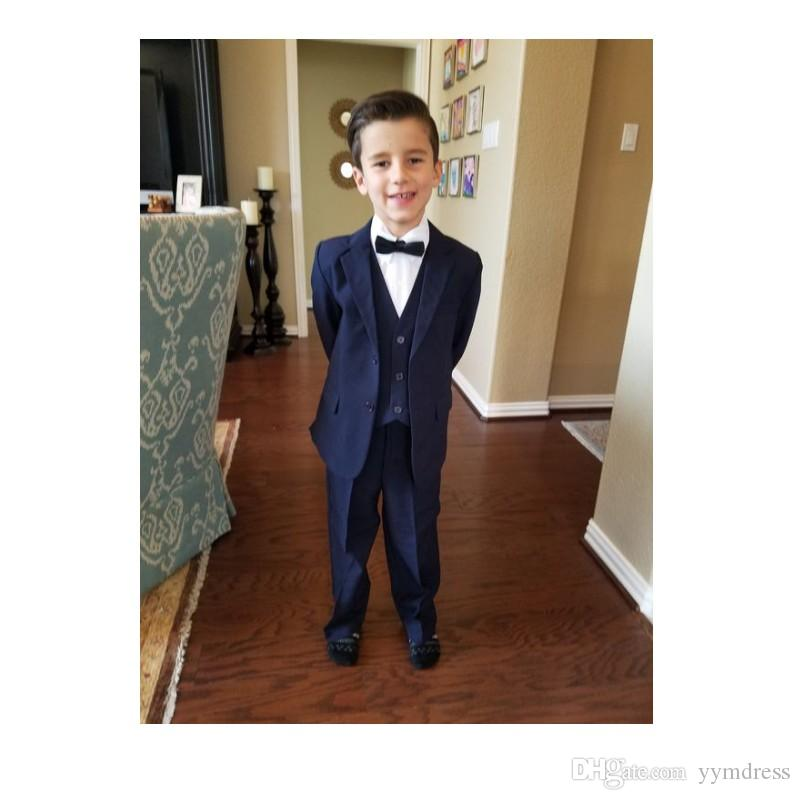 Dark Blue Boys Tuxedos Two Button Notch Lapel Children Wedding Suits Kids Formal Wear For Party (Jacket+Pants+Bow+Vest)