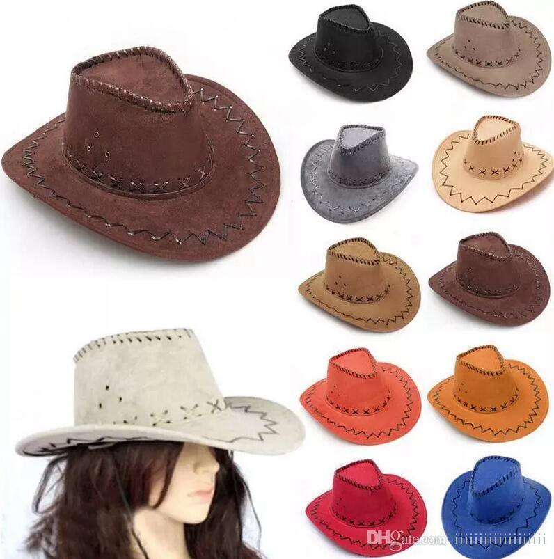 378a76986 14 colors Western Cowboy Hats Men Women Kids Brim Caps Retro Sun Visor  Knight Hat outdoor Cowgirl Brim Hats