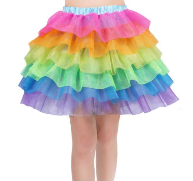 Girls Kids Rainbow Tutu Skirt Unicorn Party Tutus Baby Girls Cake 6 layer Pettiskirt Ballet Fancy Costume Tutu Skirt dress LJJK1528
