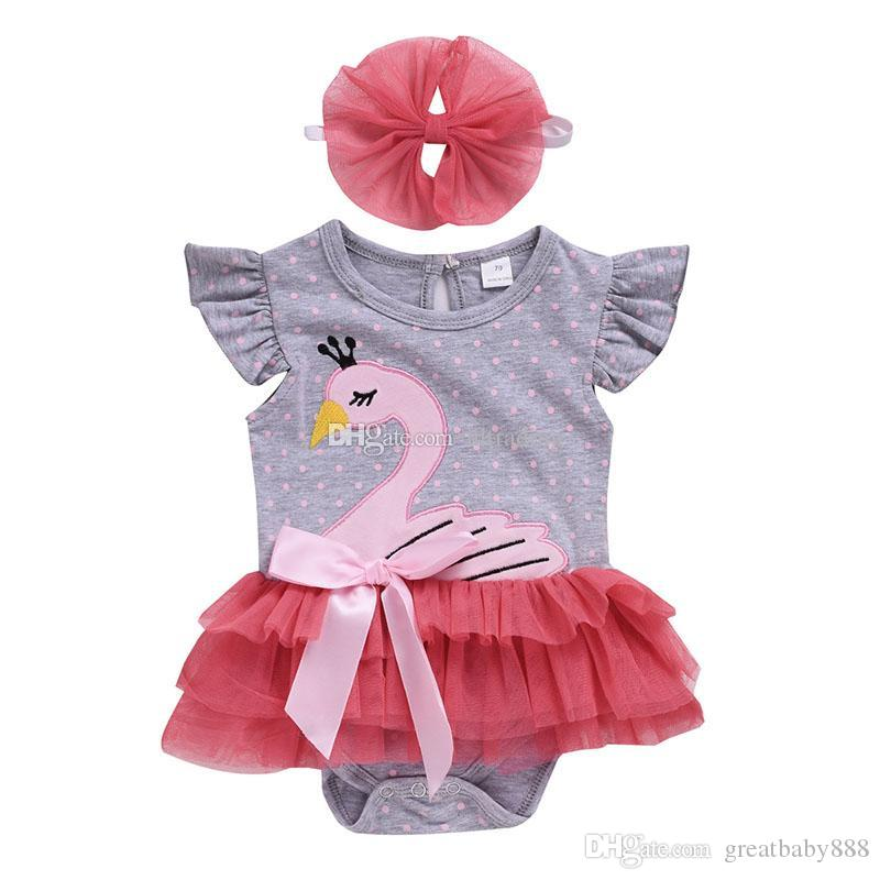 2c1482cd060 Baby Girls Swan Romper Cartoon Infant Lace Tulle Jumpsuits with Bow ...