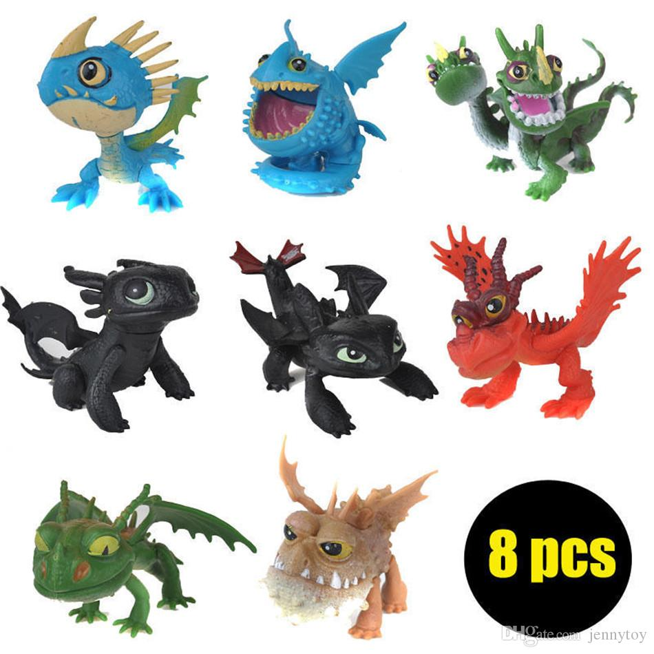 8 pcs/Lot Figures How To Train Your Dragon Figure Toys Hiccup Toothless Skull Gronckle Deadly Nadder Night Fury Dragon Figures