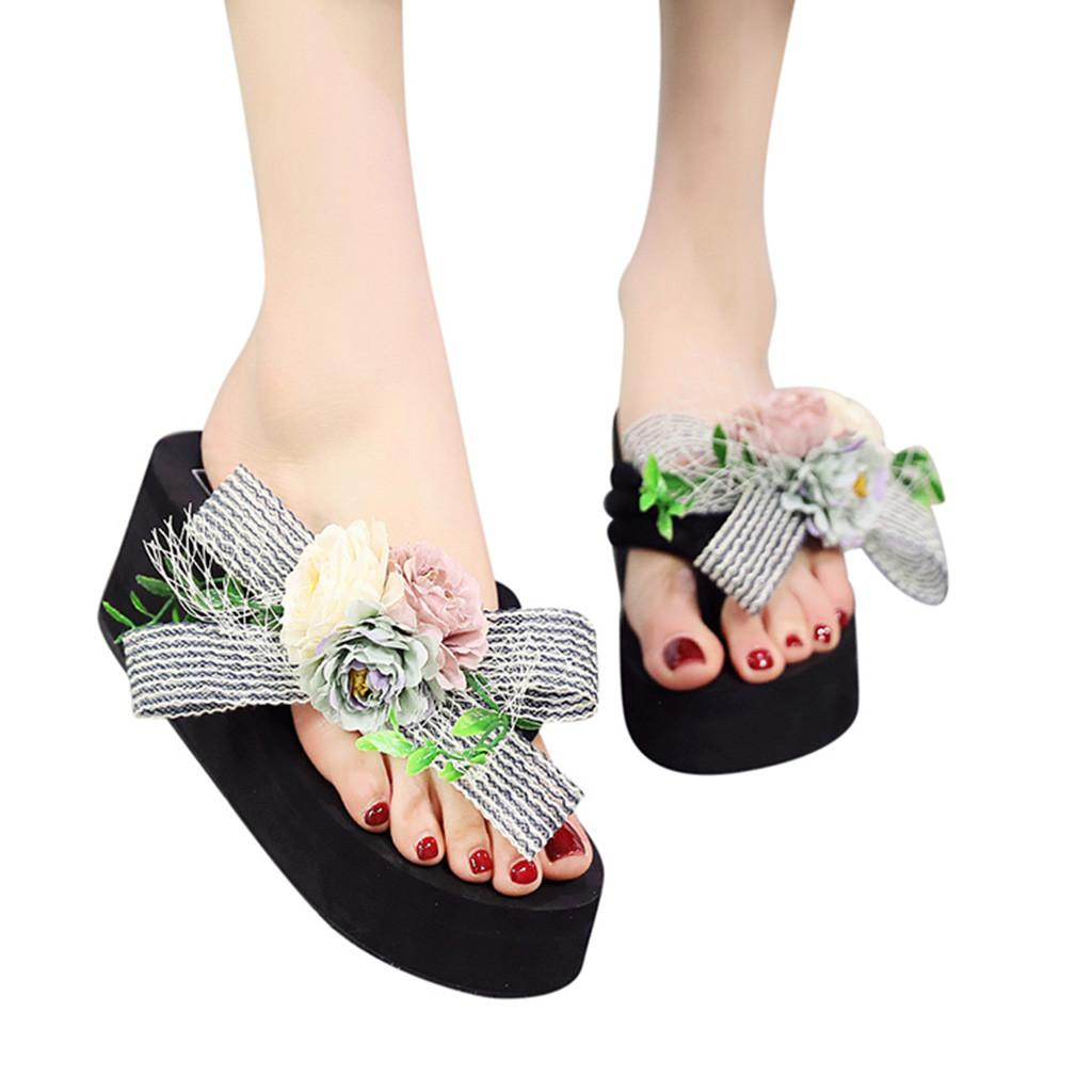 05a932194 YOUYEDIAN Women Girls Floral Wedges Bohemian Style Flip Flops Sandals  Slippers Beach Shoes Chaussure Plate Femme Printemps Ete#3 Pink Shoes High  Heel Boots ...