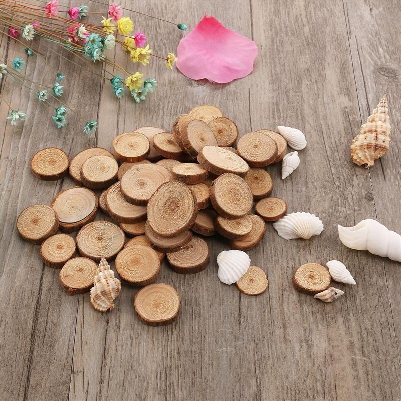 100 stücke 1,5-3 CM Holz Log Scheiben Discs für DIY Handwerk Hochzeit Mittelstücke (Holz Farbe)