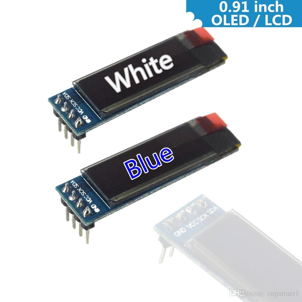 0 91 Inch 128x32 IIC I2C White / Blue OLED LCD Display DIY Module SSD1306  Driver IC DC 3 3V 5V for arduino