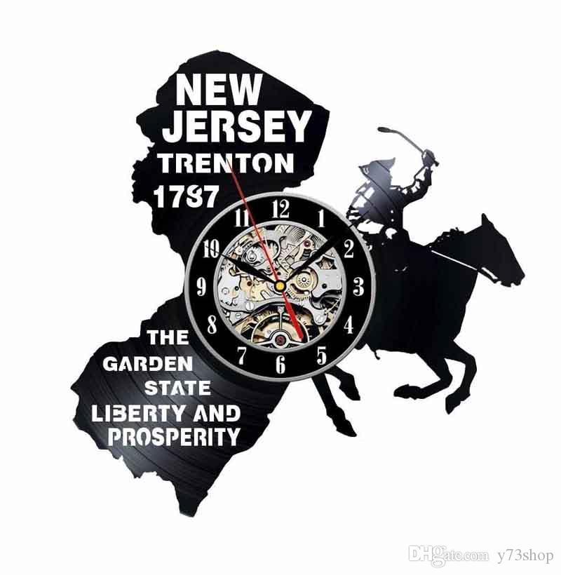 New Jersey Gift USA States City Vinyl Record Clock Wall Decoration Modern Vintage Art Room Decor Handmade Art Personality Gift (Size: 12 inc