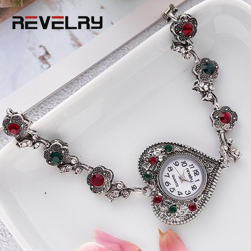 REVELRY Women's Bracelet Watches Fashion Girls Dress Diamond Saats Ladies Analog Quartz Clock Heart shaped dial zegarek damski