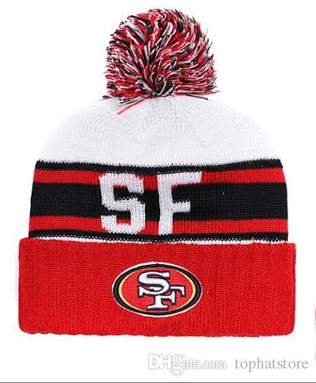 2019 NEW Men S San Francisco Knitted Cuffed Pom Beanie Hats Striped  Sideline Wool Warm Ice Hockey Beanie Cap Men Women Bonnet Beanies Skull  From Tophatstore ... 42cdcf27d96