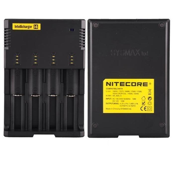 Original Nitecore I4 carregador Universal e cigs cigarros eletrônicos carregador de bateria para 18650 18500 26650 I2 D2 D4