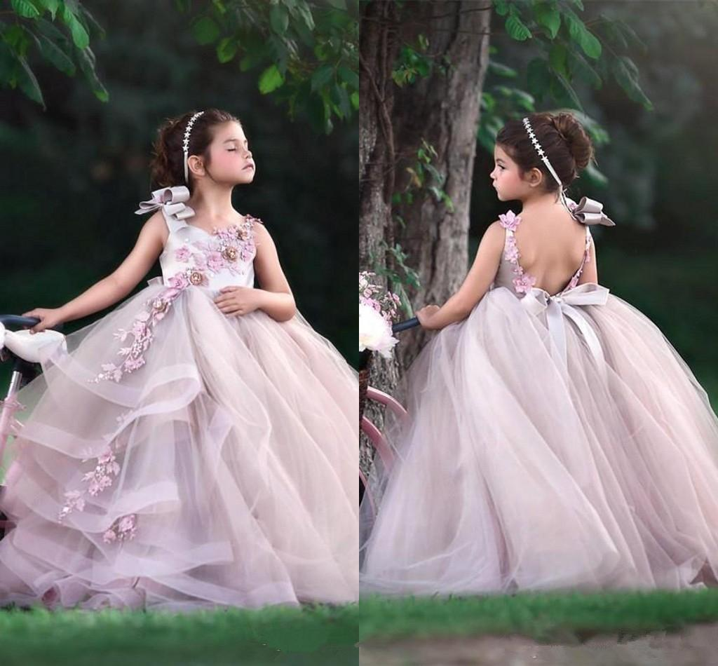 Little Baby Flower Girls Dresses Jewel Neck Open Back A Line Tulle Long Kids Formal Wear With Lace Appliques Birthday Gowns
