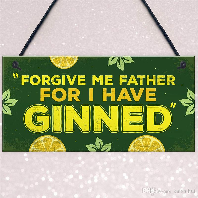 Gin Plaque Funny Alcohol Hanging Sign Home Bar Pub Man Cave Decor
