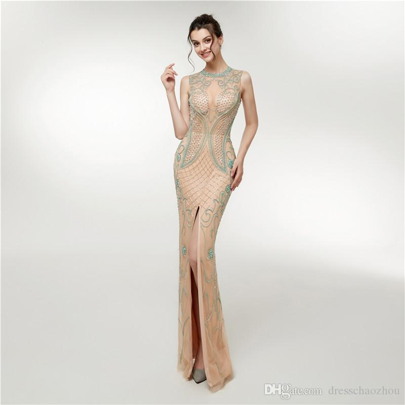 Elegant Prom Dresses 2019 New Evening Dresses Small High Neck Beaded  Sequins Crystal Side Split Zipper Red Carpet Dresses Glitter Prom Dresses  Halter Prom ... c39a865b9c6f