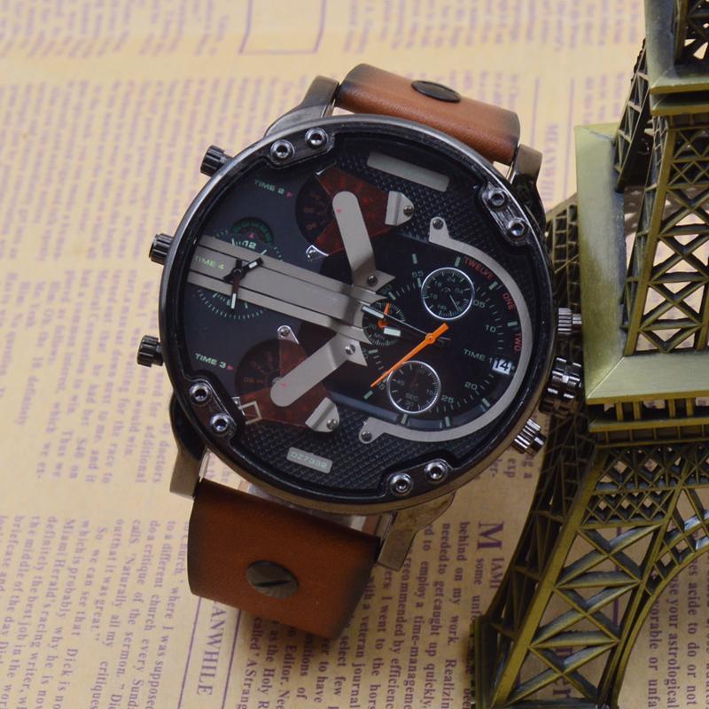 19608a89f08 Compre Extravagante Marca Masculino Relógio De Pulso De Quartzo Estilo DZ  Multi Função Multi Fuso Horário Executar Segundo Relógio De Esportes Brown  Strap ...