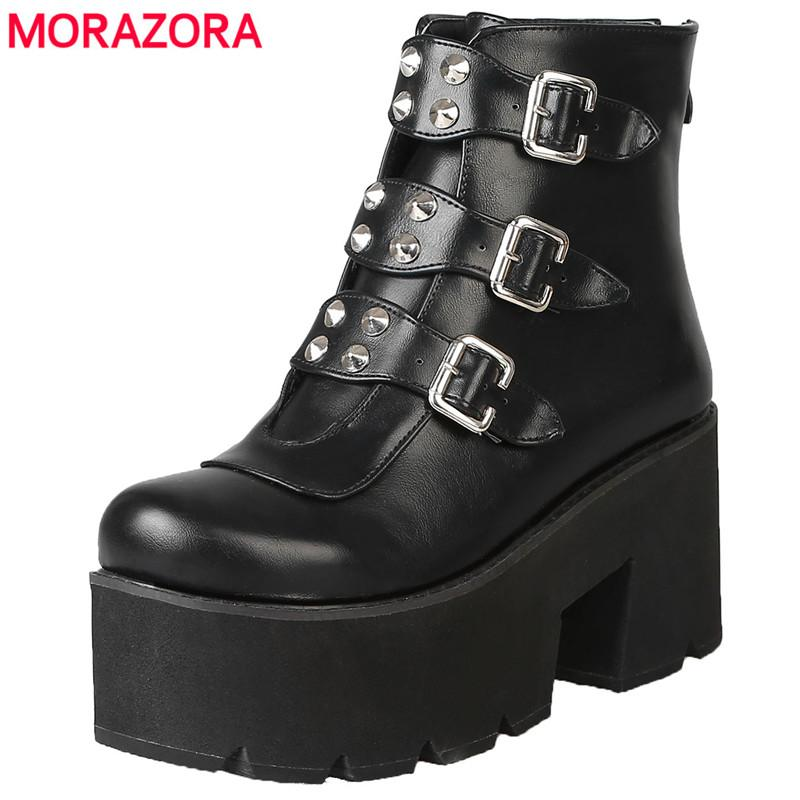 199625e607f30 MORAZORA Plus size 34-46 New fashion platform boots thick bottom shoes  buckle rivets autumn winter ankle boots for women shoes