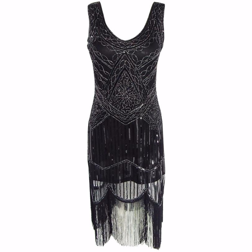 b40bf5fafa7 Women S 1920s Sequin Beaded Tassels Hem Flapper Dress Sleeveless Black  Silver Thread Embroidery Fringe Great Gatsby Party Dress Black Summer Dresses  Evening ...